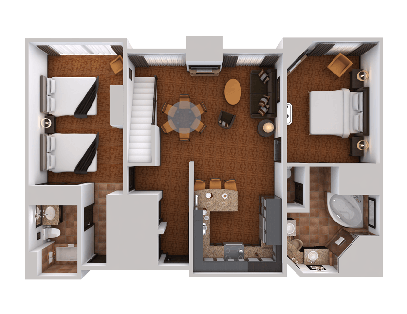 lower level three bedroom suite