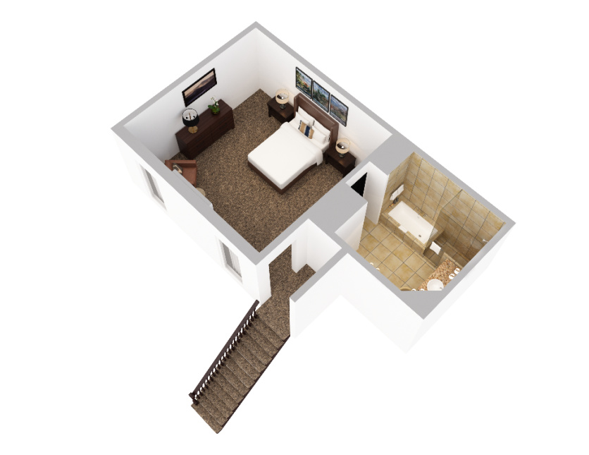 3D render of a two-story 1 Bedroom suite